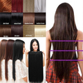 Long straight Clip in 3/4 full head Hair Extension 30inch 76 CM Length Black Dark Light Brown Blonde synthetic  hairpiece