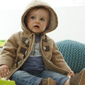 Kids Boy Clothing New 2016 Gray and Khaki Color Clothes with Horn Button Children's Winter Cotton Thick Coat for Boys COA003