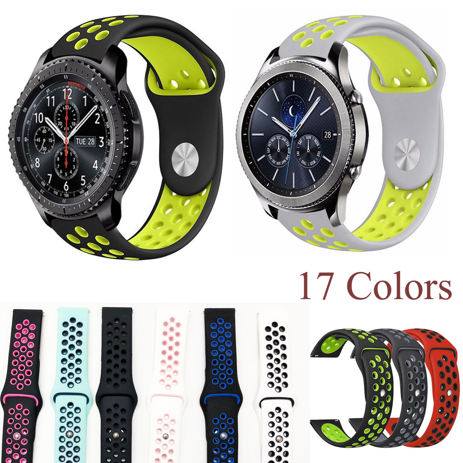 22mm Silicone Sport Band For Samsung Gear S3 Strap Breathable Bracelet For Gear S3 Classic S3 Frontier Watchbands
