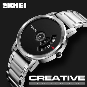 SKMEI 1260 Simple Men Watches Stainless Steel Waterproof Creative Fashion Luxury Brand Watch Montre Homme Male Clock Black 2018 Переносные часы