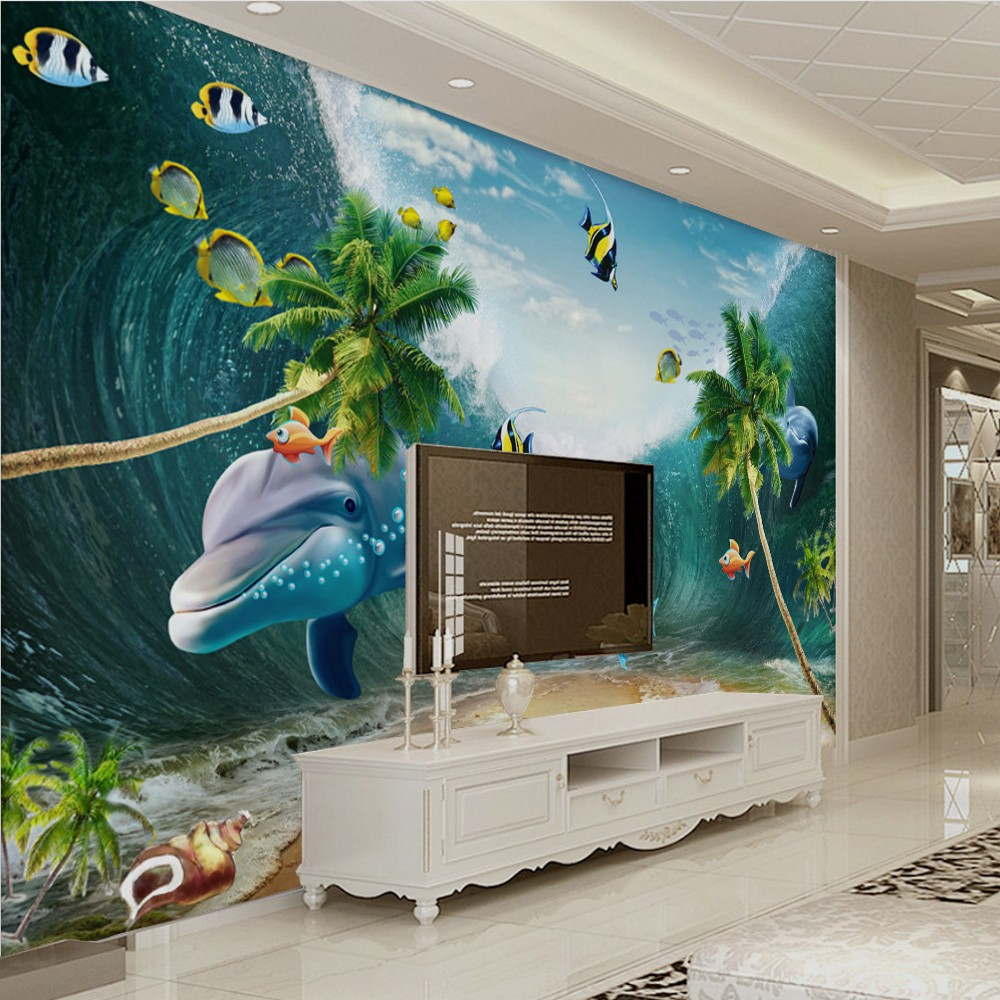 Free Shipping Custom Beautiful Seascape 3d Dolphin Cocos Dream TV Background Mural Painting China Seas Wallpaper Underwater In Wallpapers From Home