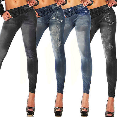 New Womens Leggings Jeggings Womens Fashion Denim Look Fit Size 6 8 10 12