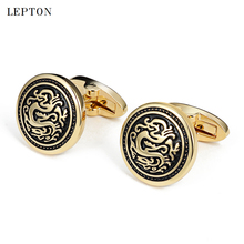 hot deal buy lepton round vintage cufflinks for mens fashion silver & gold metal cuff links mens french shirt cuffs cufflink drop shipping