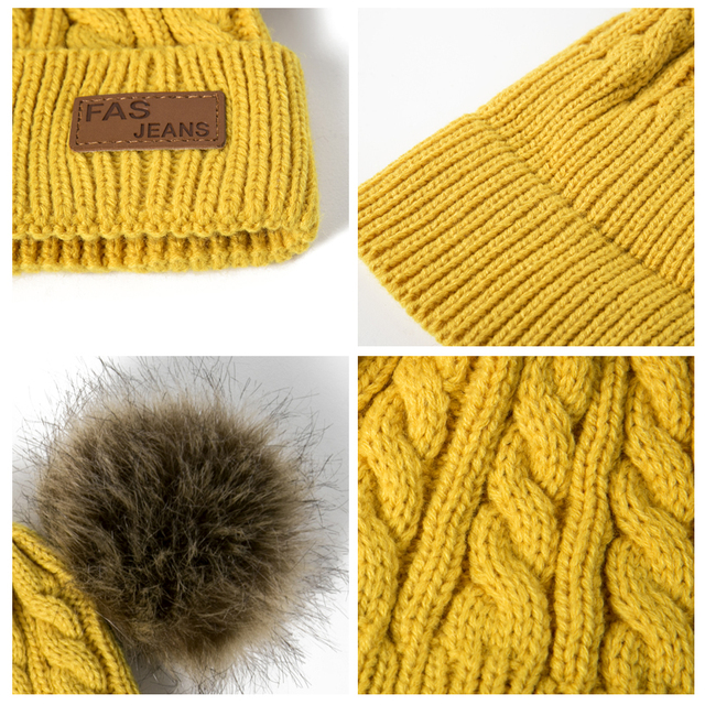 REAKIDS Beanies Baby Hat Pompon Winter Children Hat Knitted Cute Cap For Girls Boys Casual Solid Color Girls Hat Baby Beanies
