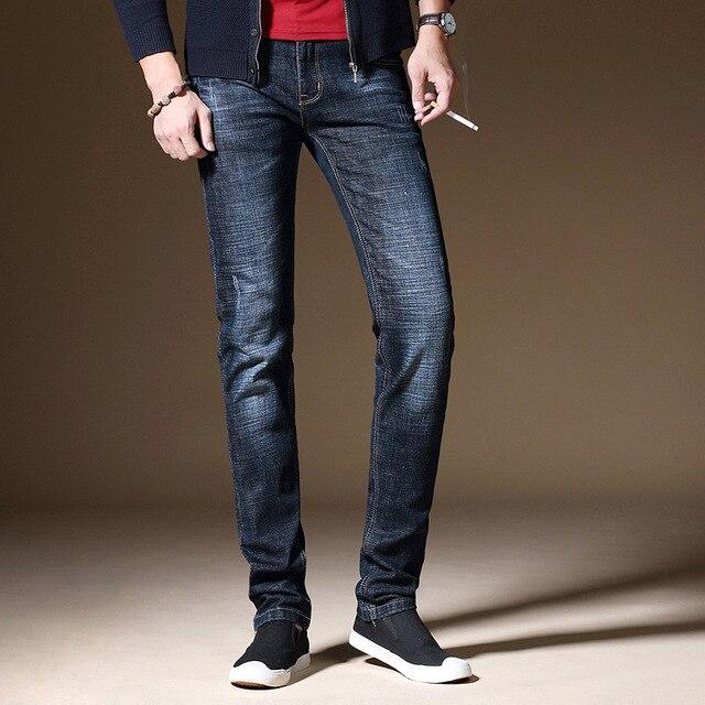 Mens Skinny Jeans Slim Fit Slightly Straight Leg Elastic Pants Stretch Denim Cool Cotton Fabric Fashion Brand Casual Trousers