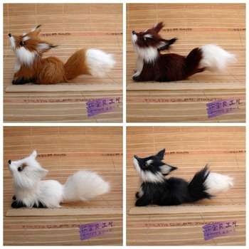 4 pieces a lot new simulation look up fox toys polyethylene & furs fox dolls gift 15x6x7cm 2093