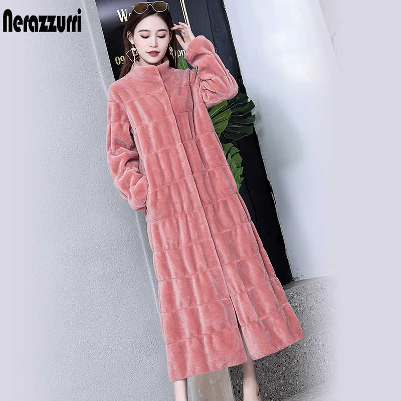 Nerazzurri luxury long real fur coat women pleated natural fur sheepskin coats pink purple plus size russian lamb fur overcoat