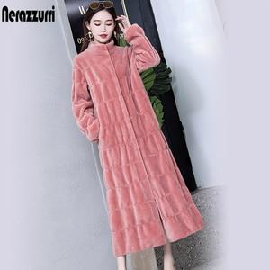 Nerazzurri Luxury long natural real fur coat women long sleeve stand collar pleated pink purple plus size shearling long jacket