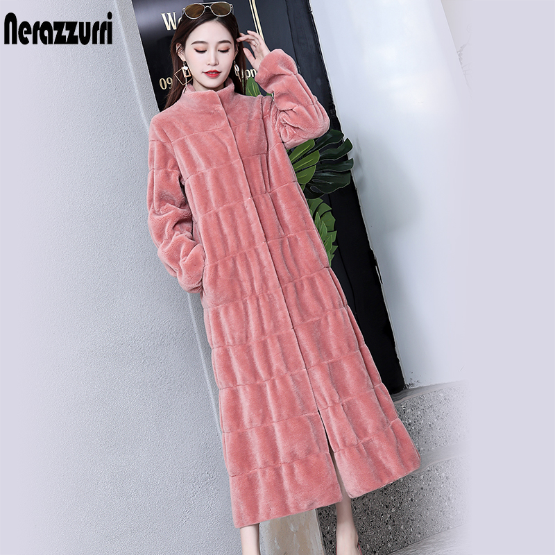 Nerazzurri Luxury Long Natural Real Fur Coat Women Long Sleeve Stand Collar Pleated Pink Purple Plus Size Shearling Long Jacket