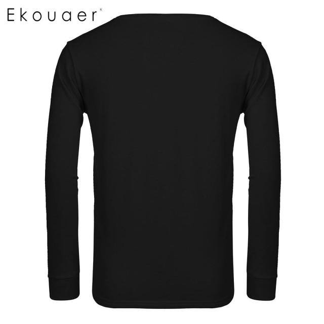 Ekouaer Cotton Sleep Top Men Casual Fashion Long Sleeve O-neck Solid Pullover Cutomized Design DIY Male Sleepwear Shirt