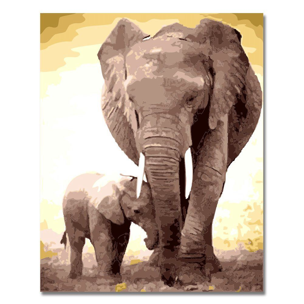 SDFC-Diy Oil Painting, Paint by Number Kit-16x20inch (Frameless) Two elephants