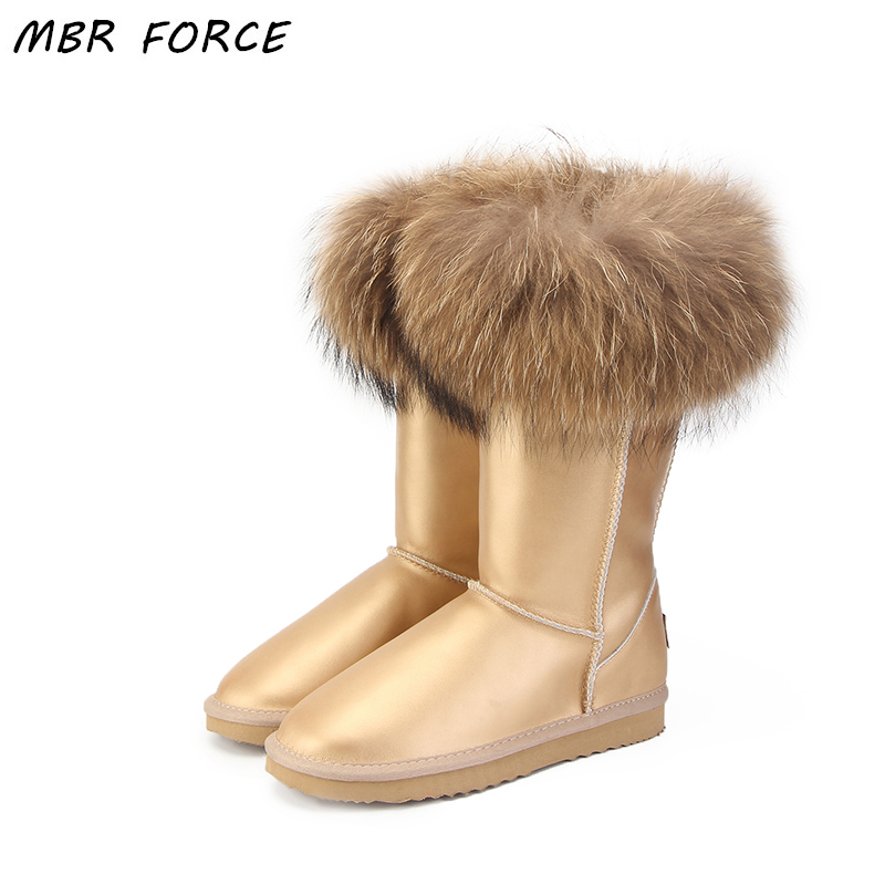 MBR FORCE NEW Fashion UG Boots Women High Boots Women Snow Boots 100% Genuine Waterproof Winter Shoes Natural Fox Fur Leather