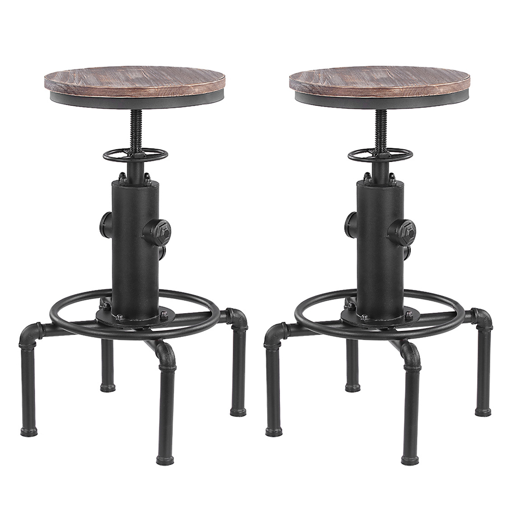 Clearance SaleStool Dining-Chair Pinewood-Top Industrial-Bar Height-Adjustable Metal Kitchen Home Swivel