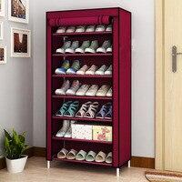 7 Tier Shoe Rack Canvas Fabric Shoe Rack Storage Cabinet Rail Shoes Organizer Zipper Standing Sapateira Organizador Furniture