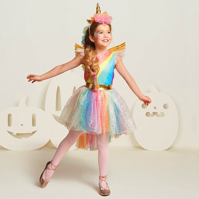 Kids Rainbow Princes tutu Dresses for Girls Unicorn Princess party dress Up cute Fancy Dress for Halloween Carnival costume wear