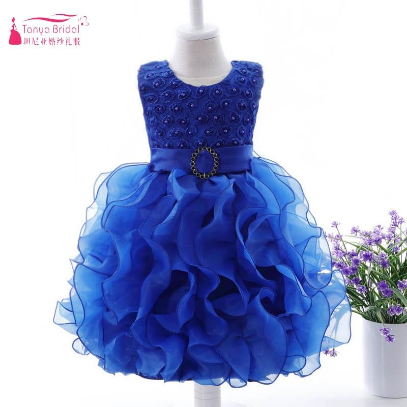 Organza Ruffles Little   girls     Flower     Dresses   Lace Sash Belt Pearls Cute Baby Birthday   Dresses   vestido   Flower     Girl     dress   ZF028