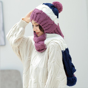 Image 5 - 2018 새로운 겨울 모자 소녀 귀여운 따뜻한 세트 크로 셰 뜨개질 모자 니트 모자 스카프 pompon beanies 목도리 솔리드 위브 플러스 벨벳 모자를 쓰고 있죠