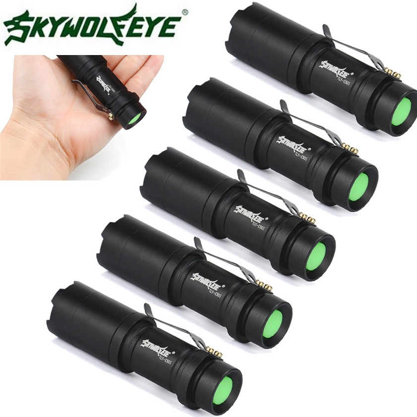 Super 5X Mini CREE Q5 7W 2000Lm LED Flashlight Torch Lamp Adjustable Focus Zoom Light 170125