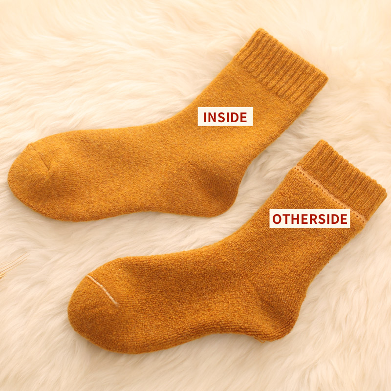 Image 4 - 4pair Merino brand wool thick warm socks women Japanese style winter cashmere women socks tube slippers Simple style crew-in Stockings from Underwear & Sleepwears on AliExpress