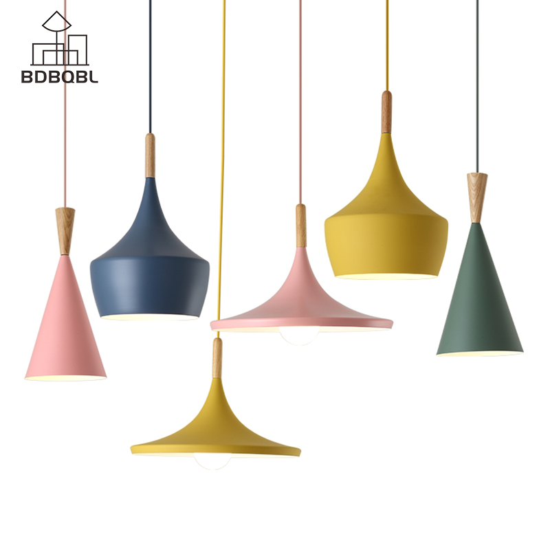 BDBQBL Modern Metal LED Pendant Lights Blue/Green/Pink