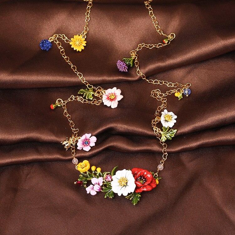 France Les Nereides Enamel Glaze Copper Romantic Fashion Various Flowers Women Long Necklace