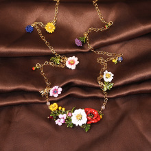 France  Les  Nereides  Enamel  Glaze  Copper  Romantic  Fashion  Various  Flowers  Women  Long  Necklace