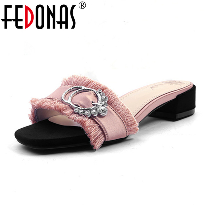 FEDONAS 2020 Women Elegant Silk Summer Autumn Shoes Woman Flat Sandals Ladies Rhinestone Wedding Shoes Comfort