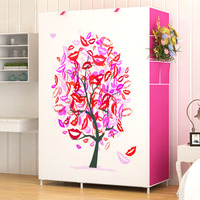 3D painting Wardrobe Non woven Steel pipe Assembly Storage Organizer Detachable Clothing bedroom furniture closet