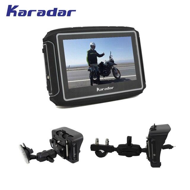KARADAR 360 degree mount 4.3 inch motorcycle parts waterproof GPS navigator with 600 lumen high bright screen 1900mAh battery