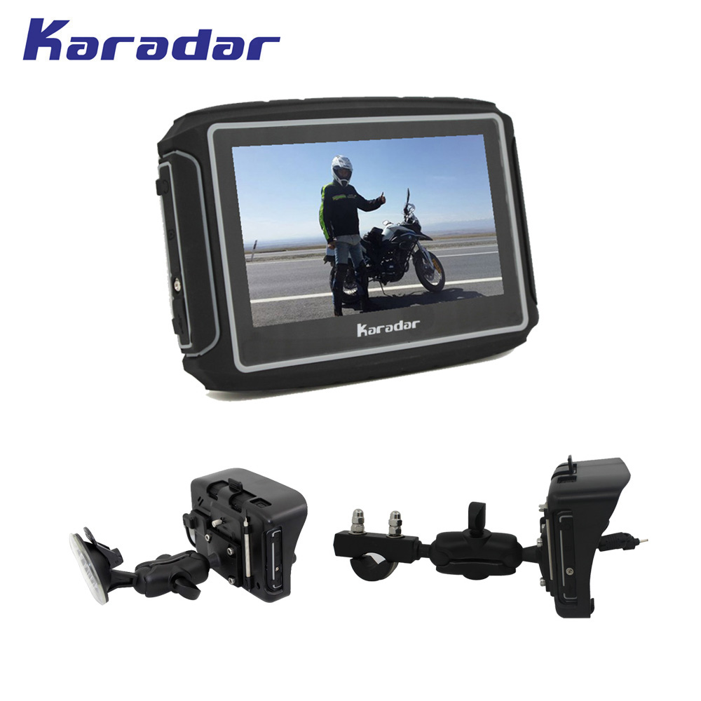 KARADAR 360 graus monte 4.3 polegada peças da motocicleta GPS navigator com 600 lúmen à prova d' água de alta brilhante tela 1900 mAh da bateria