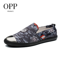 OPP New Metal Toe 2018 Men Shoes For Men Canvas Flats Shoes Slip on Casual Shoes Elastic Band Loafers Shoes