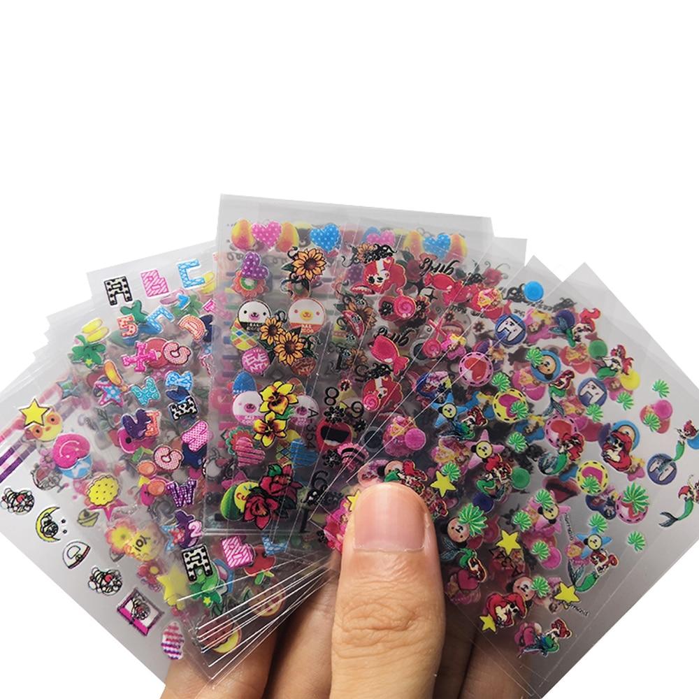 Mybormula 24 Sheets/Pack Mermaid Child Cartoon Beauty 3D Nail Art Stickers Decals Adhesive Colorful Manicure Decoration Tools
