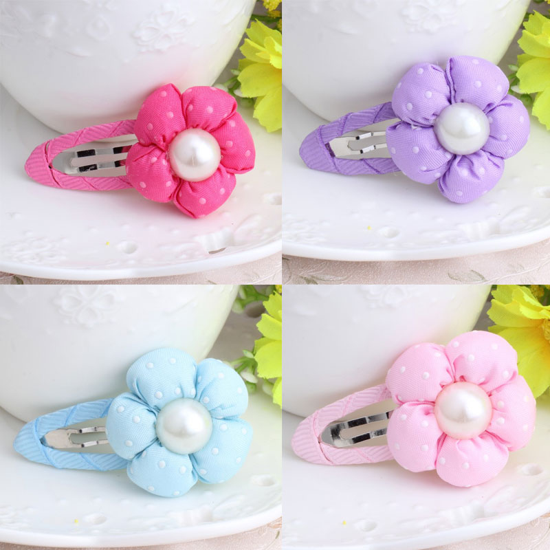 M MISM Lovely Pearl Dot Flower Hairgrip Cute Hairpins Hair Accessories Ornaments Hair Clip for Girls Kids m mism new lovely cute dot bow knot hair combs hair clip for children girls kids hairpins hair accessories ornaments hairgrip