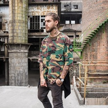 Men's Streetwear Hipster Hip Hop Longline Sides Zipper Cami T Shirts Patchwork Extended Tees Fashion Camouflage Urban Clothing