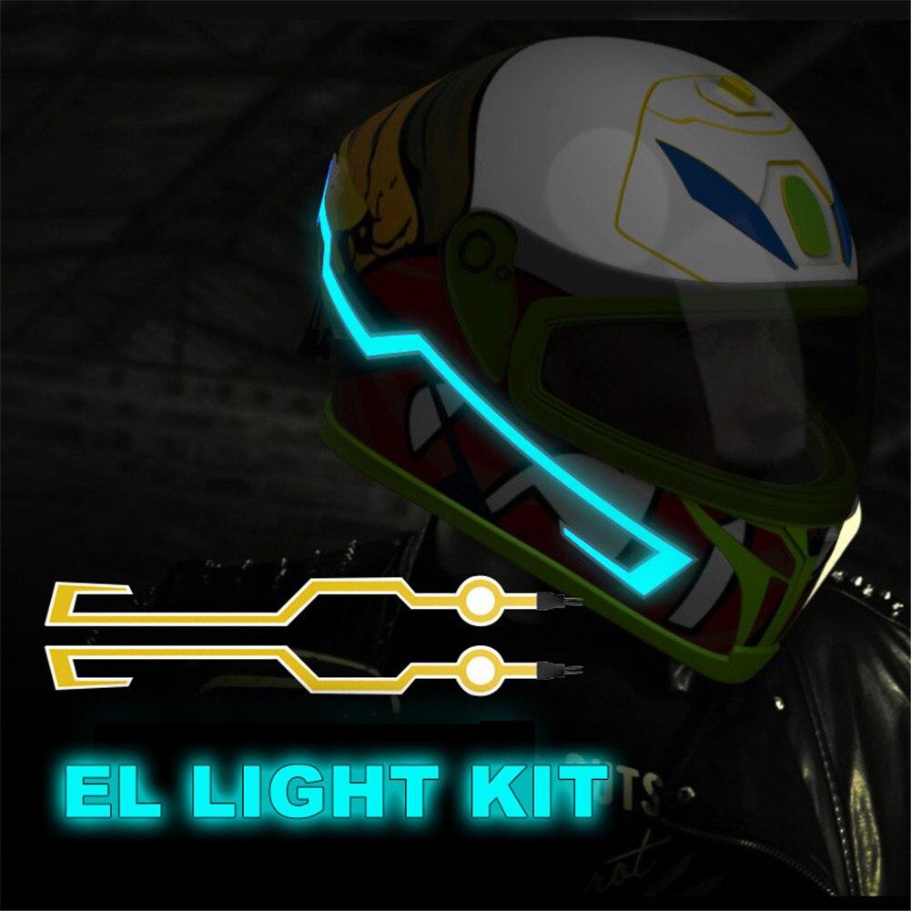 Stock listo de la motocicleta del casco de la luz fría EL Mod Kit de Tron cascos modo Noche en señal de luces Bar DIY