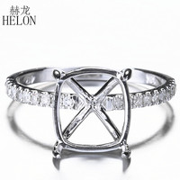 HELON 10x9mm Cushion Solid 10k White Gold Engagement Half Eternity Band Pave Natural Diamonds Semi Mount