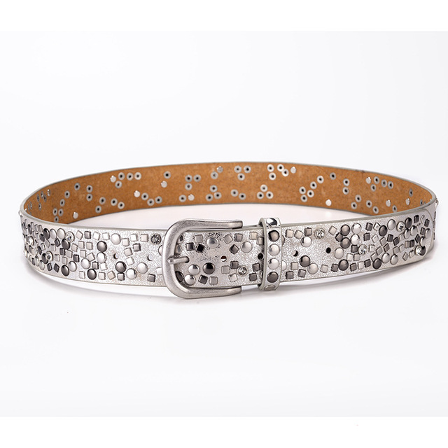 Split leather + pu rivet belt fashion rhinestone women's studded belts high quality female leather rock women strap for jeans