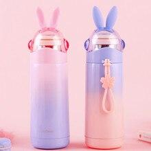 350 мл креативная бутылка для воды с милыми заячьими ушками и веревкой, портативная уличная Женская стеклянная Питьевая изоляция для бутылок