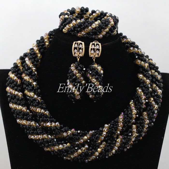New Black Bridal Jewelry Set Crystal Beads Set Graceful African Women Wedding Jewelry Set Party Jewelry Set Free Shipping AIJ677 set peperuna set