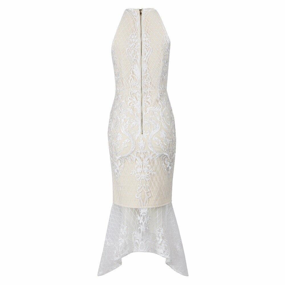 Lace A Vestidos Aderente Partito White Modo Fasciatura Di Celebrity Maniche Qualità Club O Alta 2018 Vestito Polpaccio Maglia Senza Collo Metà Da CqwfnWI6E