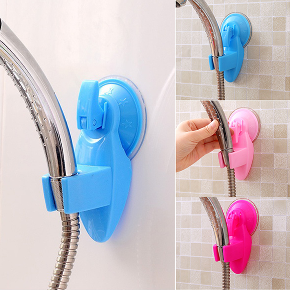 Cute Candy Color Useful Super Suction Shower Spray  Stand Bracket Holder Faucet Wall Mount Adjustable Sucker For Bathroom