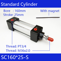 Free shipping SC160X25 S pneumatic cylinder, 160mm Bore 25mm Stroke, Double acting standard air cylinder, SC160*25 S, magnet