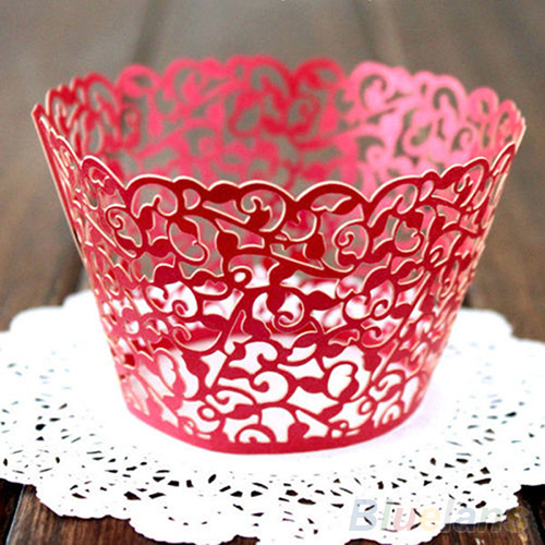 Image 3 - 12ocs/set Hollow Muffin Cupcake Paper Cups Wedding Birthday Baby Shower Filigree Vine Decor Wrapper Wraps Cupcake Cases-in Cake Molds from Home & Garden