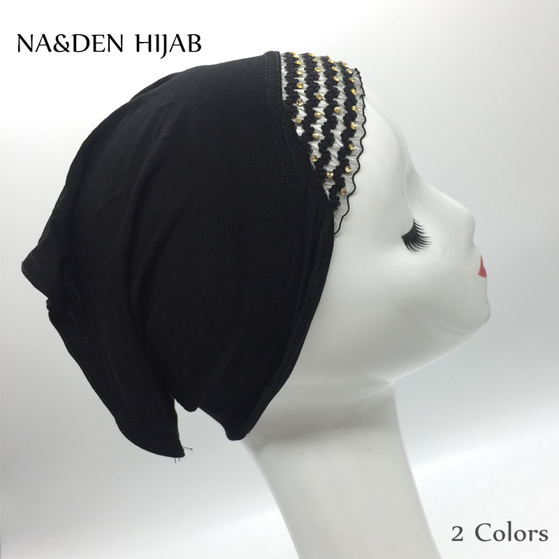 Women's Scarves High Quality Women Mercerized Cotton Tube Glitter Cap Hijabs Plain Solid Elastic Material Fashion 2color Inner Hijab 20pcs/lot Perfect In Workmanship