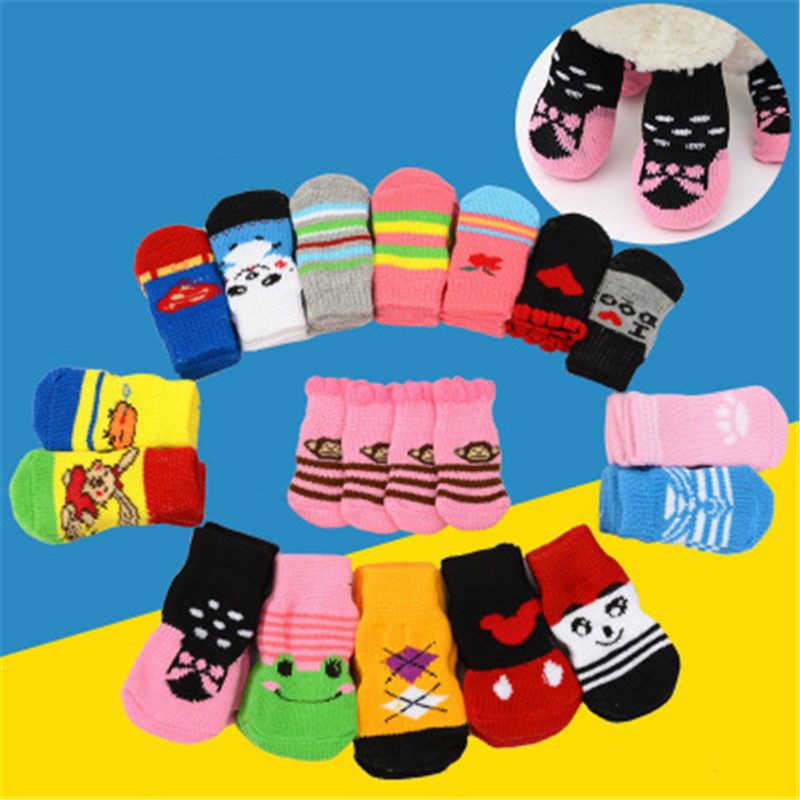 4pcs/set Puppy Small Dog Shoes Socks Warm Soft Knits Cotton With Anti-skid Pad Cute Cartoon Pet Socks 3 Size