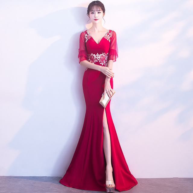 2017 V-Neck Evening Dress Red Mermaid Wedding Dress Chinese Traditional Dress  Long Qipao Hot 34da4428ce33