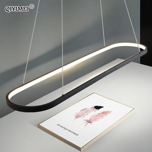 Image 4 - Retângulo moderno led pingente lâmpadas para sala de estar restaurante quarto decorativo luz pingente lamparas AC85 260V controle remoto