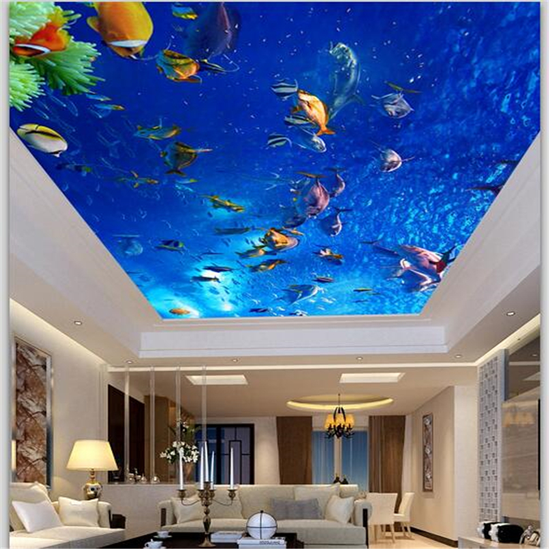 Wellyu Customized Large Wallpaper 3d Aesthetic Underwater World Tropical Fish Living Room Bedroom Ceiling Zenith 3d Wallpaper