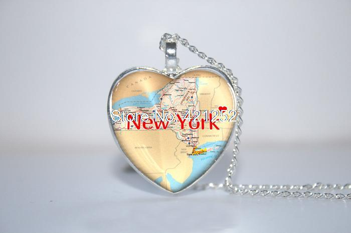 10pcs/lot New York State Pendant, New York Map, New York State Map heart Necklace Glass Photo Cabochon Necklace
