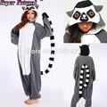 Buena calidad de cola anillada lemur catta cat navidad pijamas animal invierno mujeres hombres onesies adultos regalo de halloween cosplay traje
